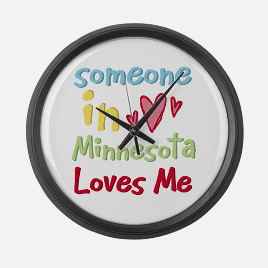 Someone in Minnesota Loves Me Large Wall Clock