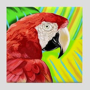 Scarlet Macaw Parrot Tile Coaster