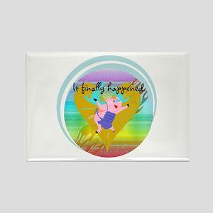 Pig Flying Rectangle Magnet