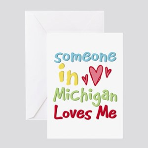 Michigan greeting cards cafepress someone in michigan loves me greeting card m4hsunfo