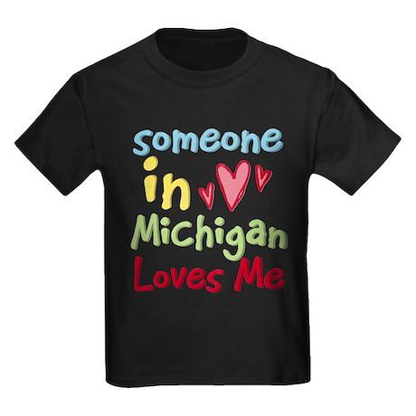 Someone in Michigan Loves Me Kids Dark T-Shirt