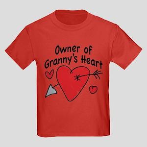 OWNER OF GRANNY'S HEART Kids Dark T-Shirt