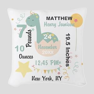Boy Birth Stats Dinosaur Woven Throw Pillow