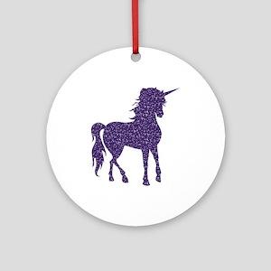Purple Unicorn Round Ornament