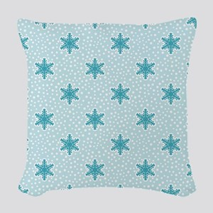Teal Blue Snowflakes Woven Throw Pillow