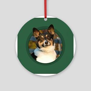 Pembroke Welsh Corgi Green Round Ornament