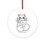 Longhair ASL Kitty Ornament (Round)