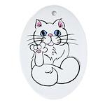 Longhair ASL Kitty Oval Ornament