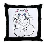 Longhair ASL Kitty Throw Pillow