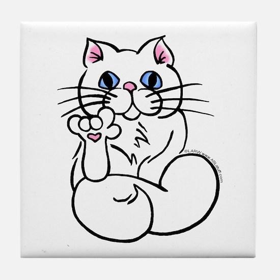 Longhair ASL Kitty Tile Coaster
