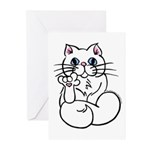 Longhair ASL Kitty Greeting Cards (Pk of 20)