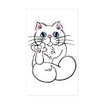 Longhair ASL Kitty Rectangle Sticker 10 pk)