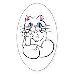 Longhair ASL Kitty Oval Sticker (10 pk)