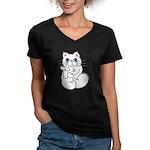 Longhair ASL Kitty Women's V-Neck Dark T-Shirt