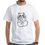 Longhair ASL Kitty White T-Shirt