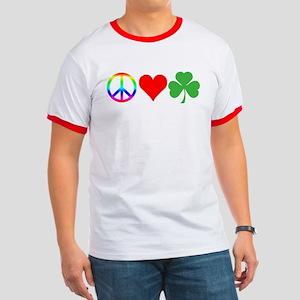Peace Love Shamrock Irish Ringer T