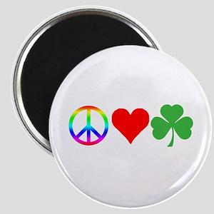 Peace Love Shamrock Irish Magnet