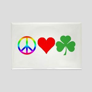 Peace Love Shamrock Irish Rectangle Magnet