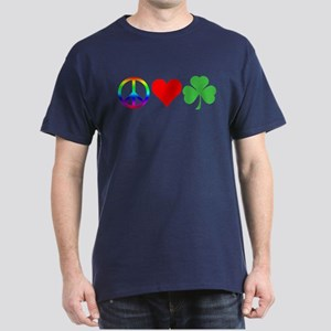 Peace Love Shamrock Irish Dark T-Shirt