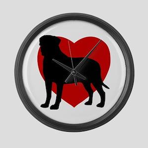 Bullmastiff Valentine's Day Large Wall Clock
