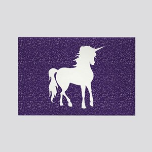 Purple Unicorn Rectangle Magnet