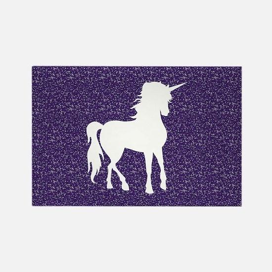 Purple Unicorn Rectangle Magnet