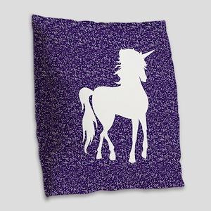Purple Unicorn Burlap Throw Pillow