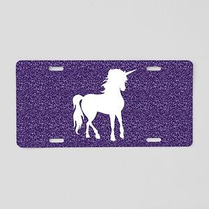 Purple Unicorn Aluminum License Plate