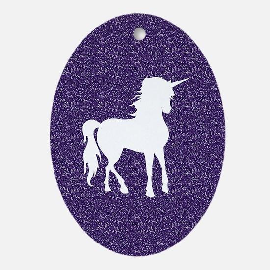 Purple Unicorn Oval Ornament