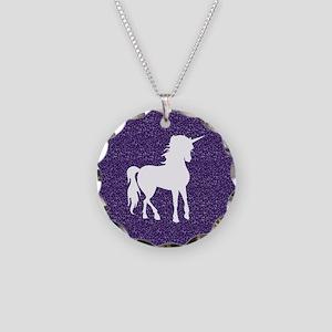 Purple Unicorn Necklace Circle Charm