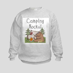 Bear Camping Rocks Kids Sweatshirt