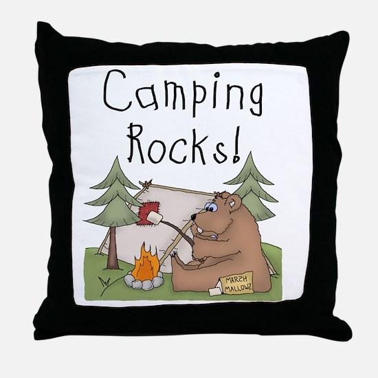 Bear Camping Rocks Throw Pillow