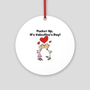 Pucker Up Valentine Ornament (Round)