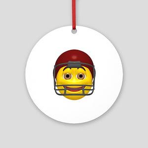 Yellow Football Smiley Ornament (Round)