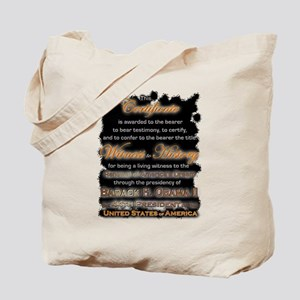 Witness to History Certificate - Tote Bag