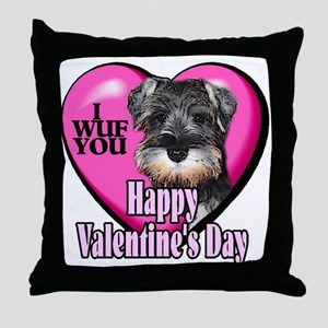 Miniature Schnauzer V-Day Throw Pillow