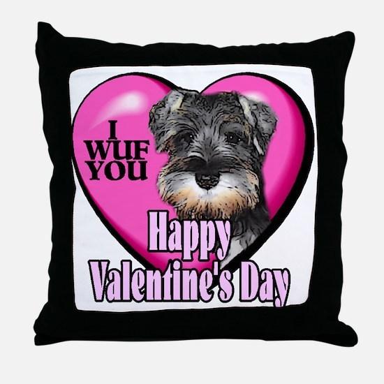 Miniature Schnauzer V-Day Throw Pillow