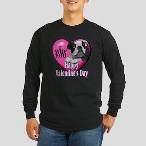 Boston Terrier V-Day Long Sleeve Dark T-Shirt