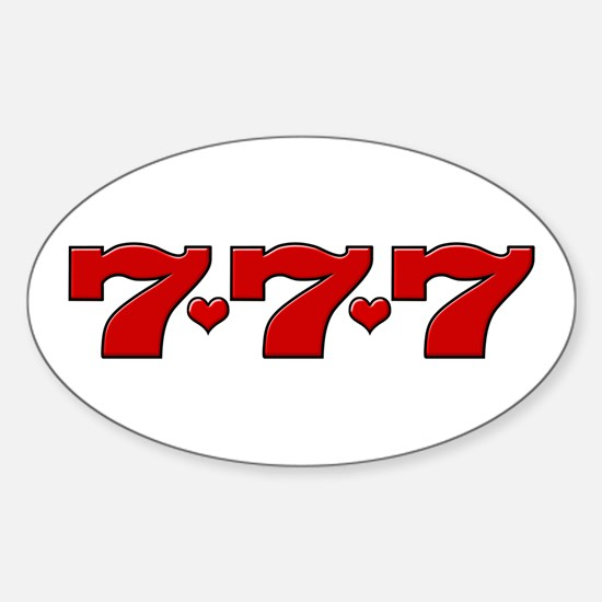 777 Hearts Oval Decal