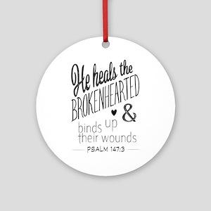 Psalm 147:3 Bible Verse Word Art Round Ornament