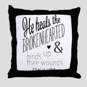Psalm 147:3 Bible Verse Word Art Throw Pillow