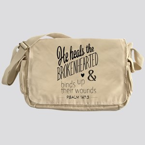 Psalm 147:3 Bible Verse Word Art Messenger Bag