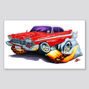 1958-59 Fury Red Car Rectangle Sticker