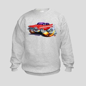 1958-59 Fury Red Car Kids Sweatshirt