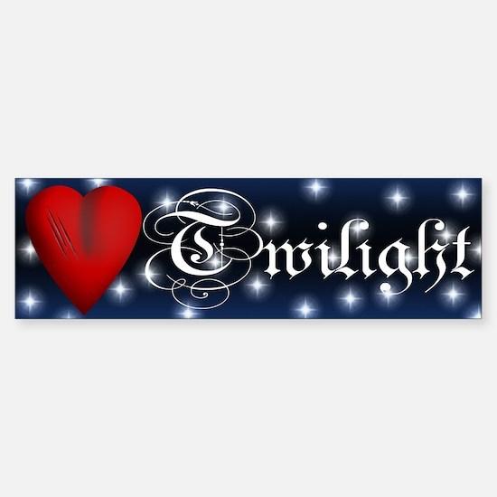 Sparkling Twilight Scratched Heart Bumper Bumper Sticker