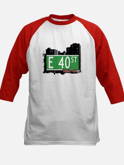 E 40 STREET, MANHATTAN, NYC Kids Baseball Jersey