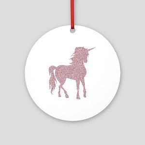 Pink Unicorn Round Ornament