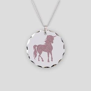 Pink Unicorn Necklace Circle Charm