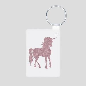 Pink Unicorn Aluminum Photo Keychain