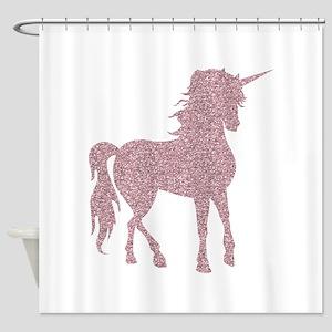Pink Unicorn Shower Curtain